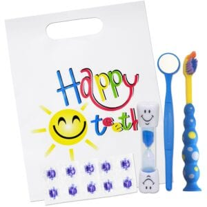 Happy Teeth Blue Gift Set for Children with Toothbrush Disclosing Tablets Mirror and Timer
